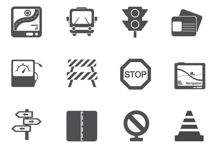 Pacote de vetores de tráfego e sinal de trânsito