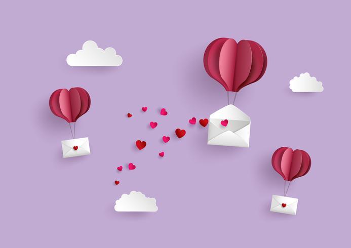 Forma de coração de balão de papel quente pendurar envelope flutuando no céu vetor