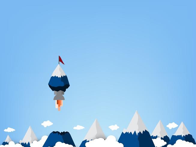 Bandeiras vermelhas nos picos é um foguete que é diferente das outras montanhas. vetor