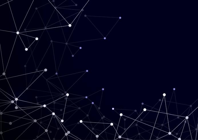 Virtual abstrato com partículas, estrutura da molécula. vetor