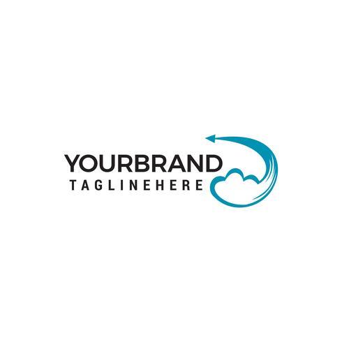 Design de logotipo de nuvem criativa. Vector criativo ícone de uma nuvem azul com setas Modelo de Design