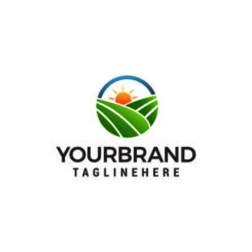 logotipo do sol de campo, vetor de modelo de conceito de design de logotipo de fazenda