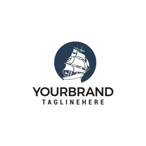 vetor de modelo de conceito de design de logotipo de navio de cruzeiro