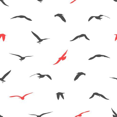 Silhueta de fundo sem emenda de pássaros. vetor