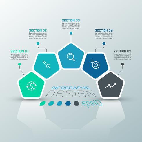 Os pentágonos etiquetam infographic na arte do vetor. vetor