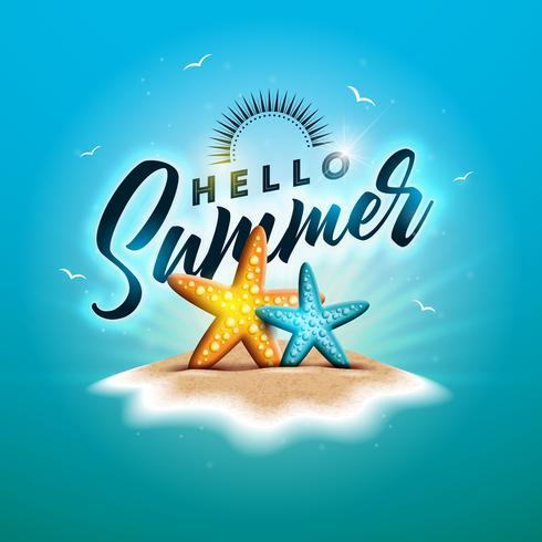 Aproveite a ilustração de férias de verão com letra de tipografia e óculos de sol no fundo do oceano azul. Vector Design com estrela do mar e bola de praia na ilha paradisíaca