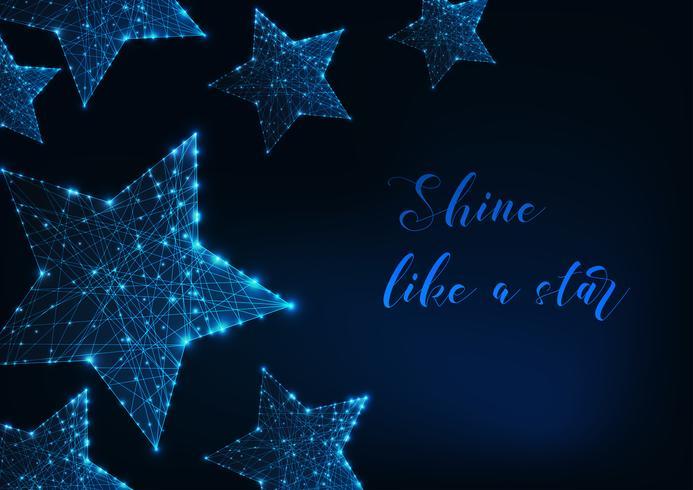 Estrelas brilhantes feitas de linhas, pontos, triângulos e texto vetor