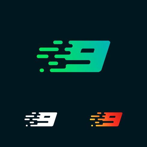 Vetor de design de logotipo de formas modernas de velocidade número 9