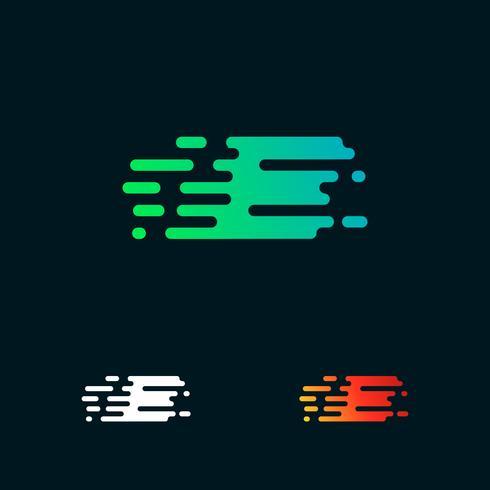 letra E velocidade moderna formas logo design vector
