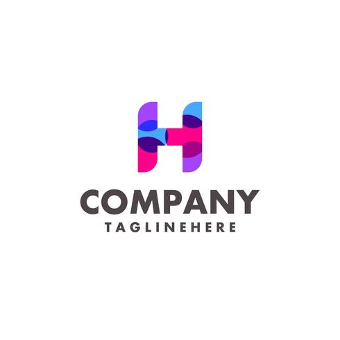abstrato colorido letra H logo design para empresa de negócios com cor neon moderna vetor