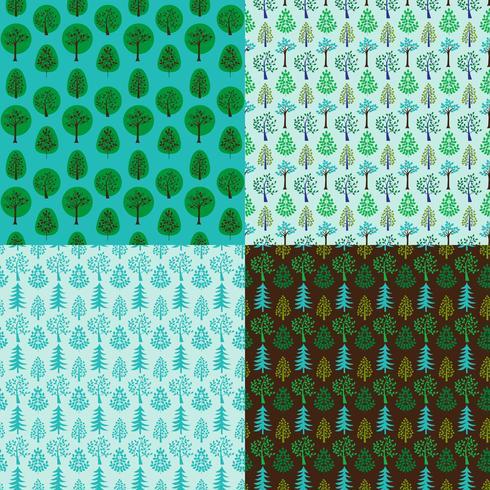 padrões de fundo de árvore sem costura vector