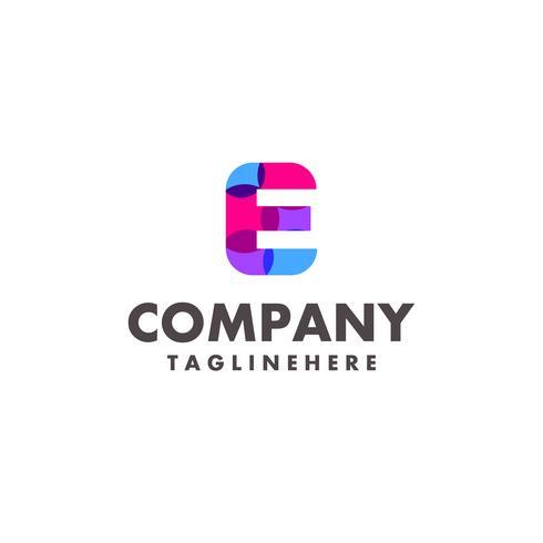 abstrato colorido letra E design de logotipo para empresa de negócios com cor neon moderna vetor