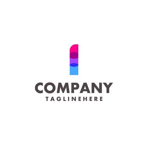 carta colorida abstrata eu design de logotipo para empresa de negócios com cor neon moderna vetor