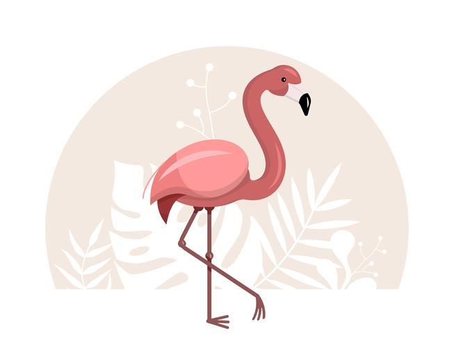 Flamingo rosa com tropical vetor