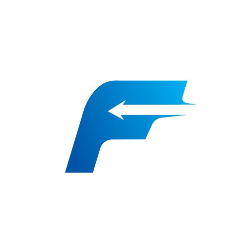 letra F com modelo de Design de logotipo de seta vetor