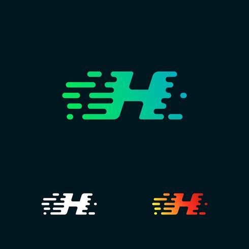 letra H velocidade moderna formas logo design vector