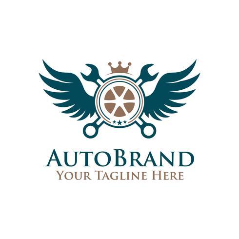roda de pneu de emblema de ilustração vetorial, chave com logotipo de asas. vetor