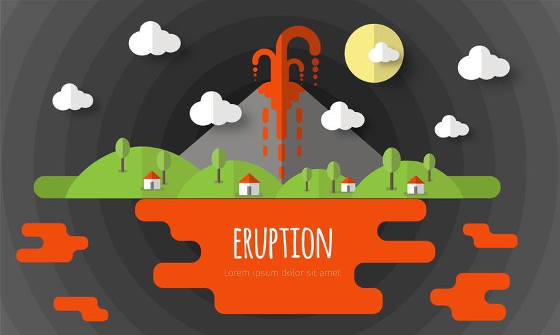 Vetorial, ilustração, de, um, vulcânico, erupção vetor