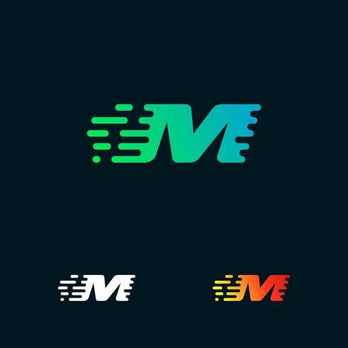 letra M moderna velocidade formas logo design vector