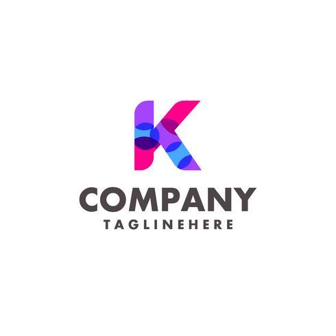 abstrato colorido letra K design de logotipo para empresa de negócios com cor neon moderna vetor