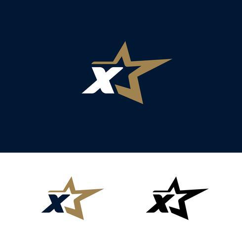 Modelo de carta X logotipo com elemento de design de estrela. Vetor illustra