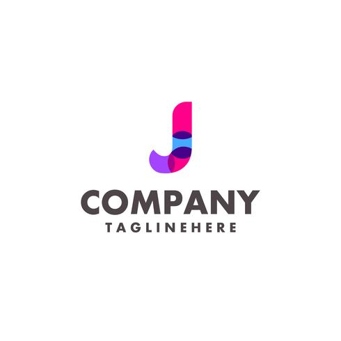 design de logotipo colorido abstrato letra J para empresa de negócios com cor neon moderna vetor