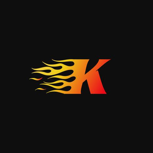 modelo de design de logotipo de flama letra K vetor
