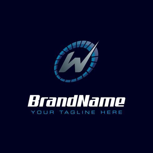 Logotipo do velocímetro de letra W Logotipo de velocidade do tacômetro vetor