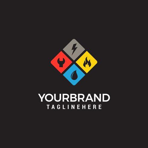 logotipo de serviços em casa, encanamento, fogo, eletricidade vetor