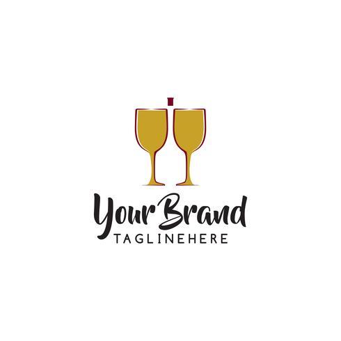 Modelo de design de logotipo de vinho. Vetorial, ilustração, de, ícone vetor