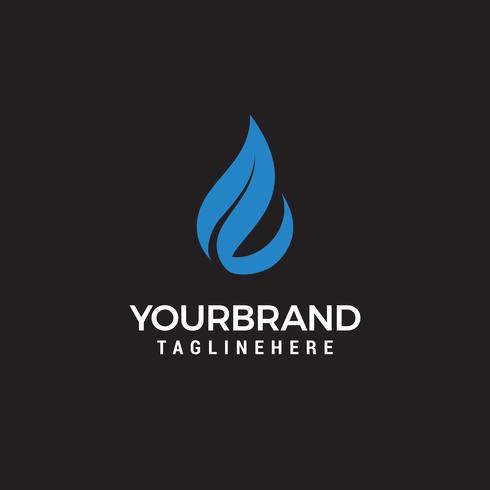 logotipo de vetor de água e folhas para símbolos de saúde natural e limpo