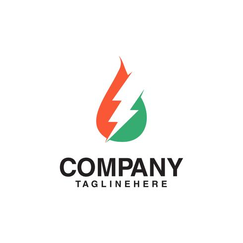 Logotipo de recursos, óleo de gás e logotipo do trovão. vetor
