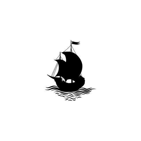 Silhueta de navio à vela. Ícone de transporte retrô. Projeto de cruzeiro de viagem vetor