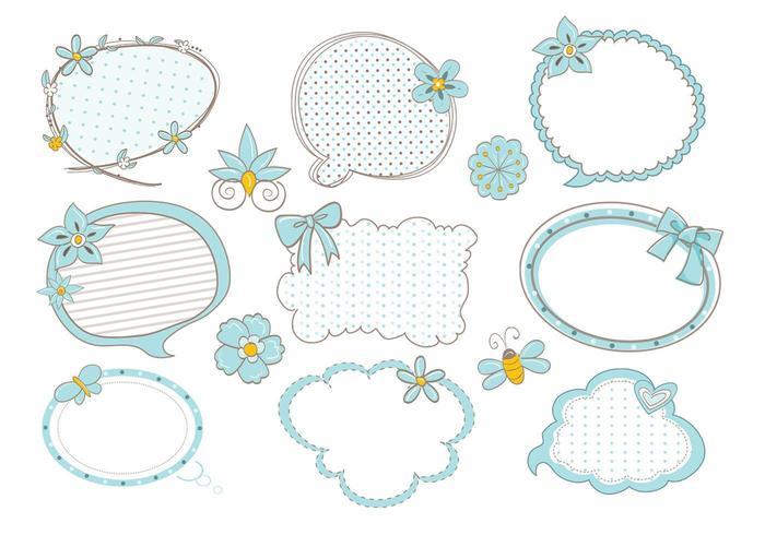 Pacote de vetores de bolha de discurso bonito Doodle