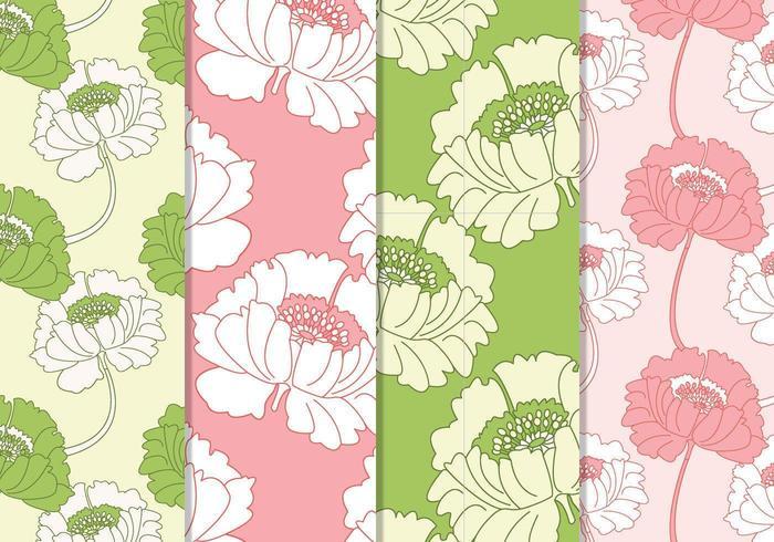 Padrões vetoriais florais rosa e verde sem costura vetor