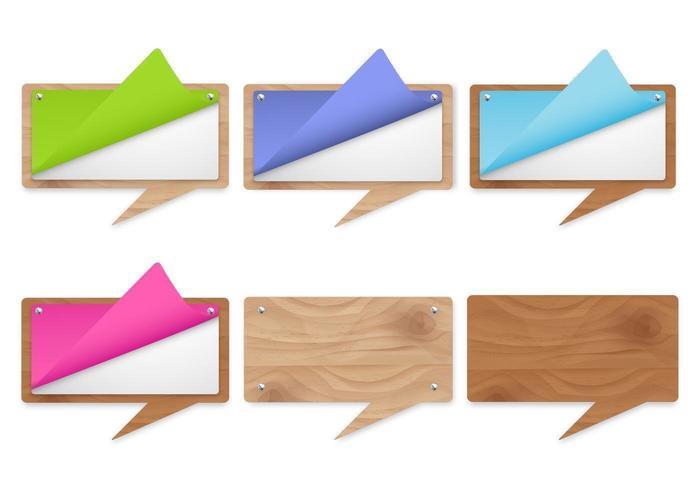 Pacote moderno de vetores de bolha de fala de madeira