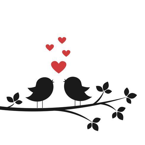 Silhuetas de pássaros bonitos cantam no amor vetor