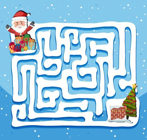 Modelo de jogo de labirinto de Papai Noel vetor