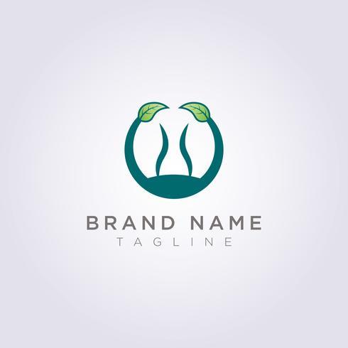 Crie um logotipo de círculo com folhas e pessoas no círculo para sua empresa ou marca vetor