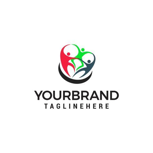 vetor de modelo de conceito de design de logotipo de trabalho em equipe