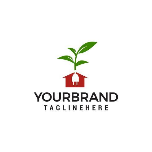Logotipo de casa de energia verde com plugues elétricos e folhas modelo vector design