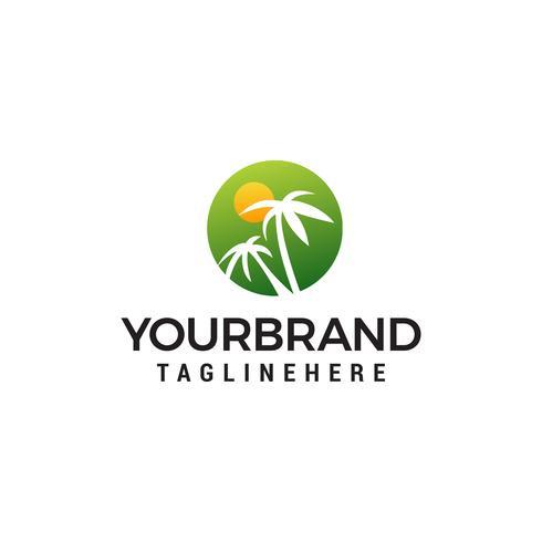 palm tree and sun logo design modelo conceito vector