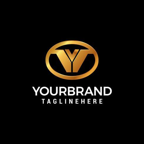 Vetor de modelo de conceito de design de logotipo ovais letra V