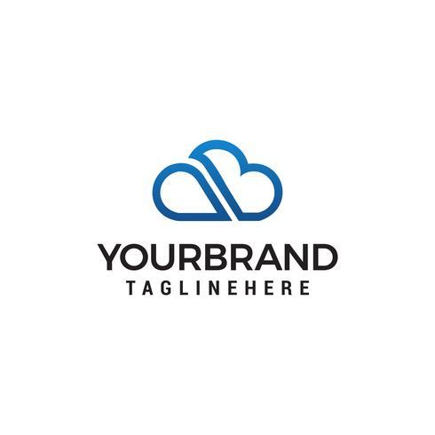 modelo de desenhos de logotipo de letra de linha de nuvem ab vetor