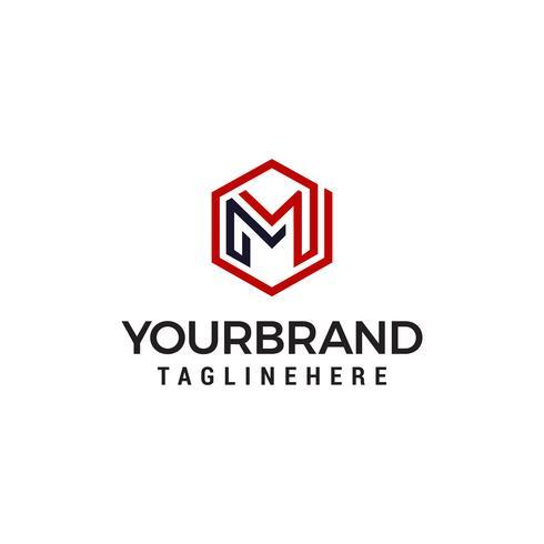 Logotipo de logotipo de hexágono de luxo M projeta modelo vetor