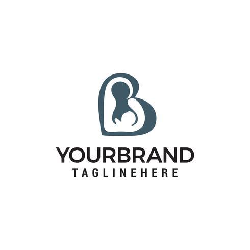 Amor mãe bebê logotipo design conceito modelo vector