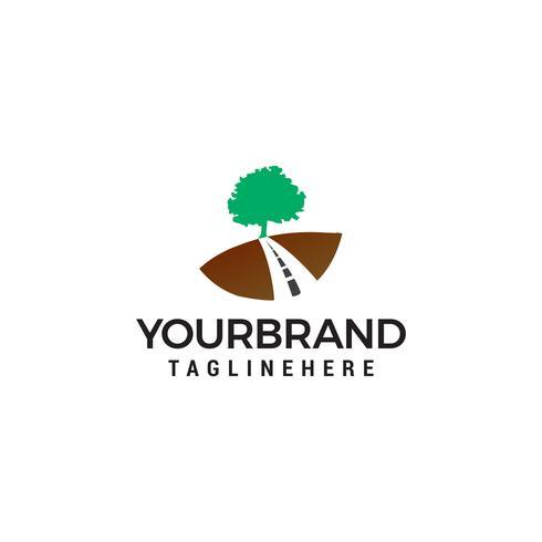Estrada árvore logotipo design conceito modelo vector