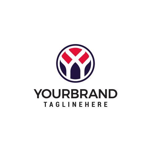 logotipo inicial da letra Y dentro da forma do círculo Modelo de Design vetor