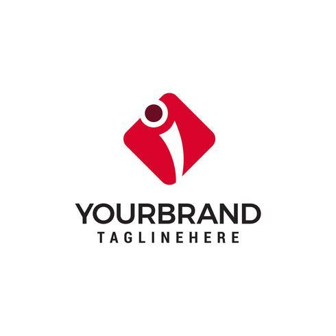 letra i vetor de modelo de conceito de design de logotipo