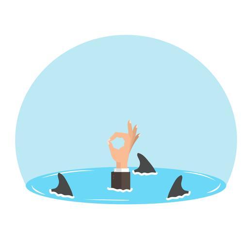 mão negócios sinal ok com barbatanas de tubarão vetor